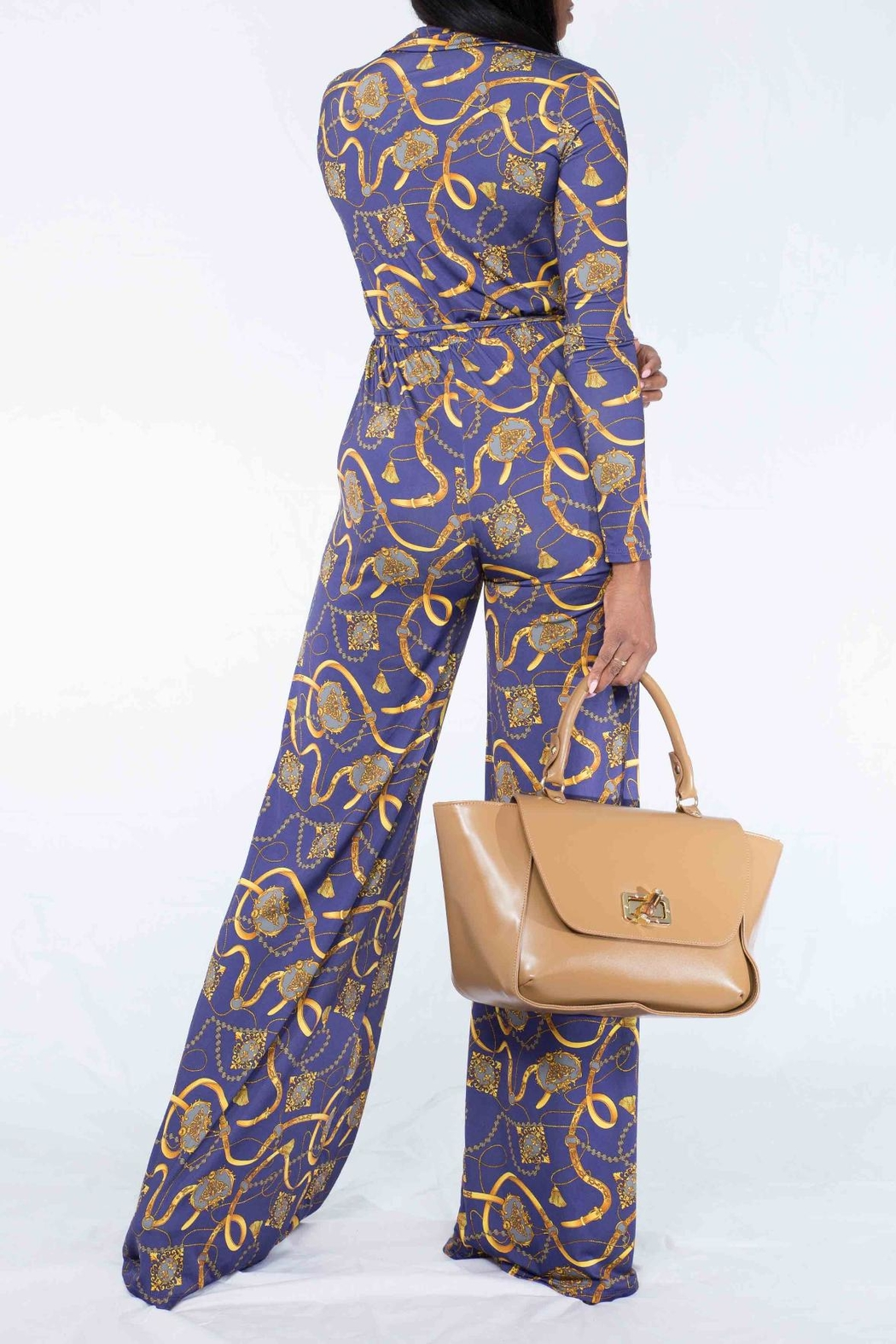 MODChic Couture Chain Print Jumpsuit - Side Cropped Image