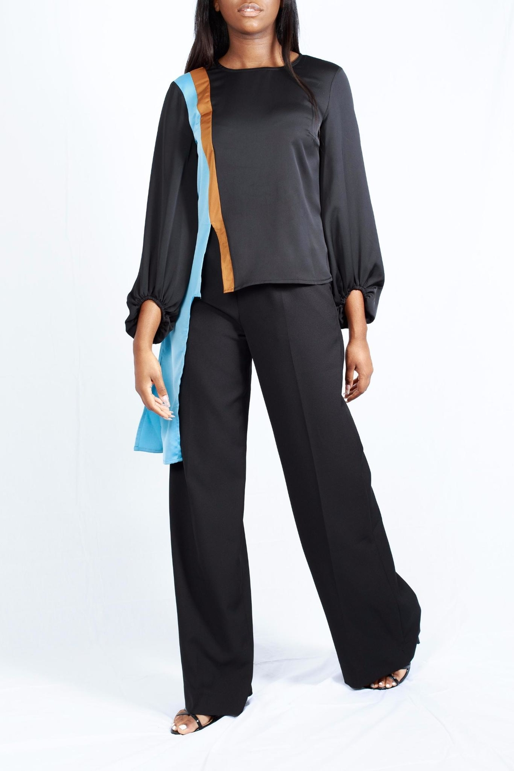 MODChic Couture Colorblock Striped Blouse - Front Full Image