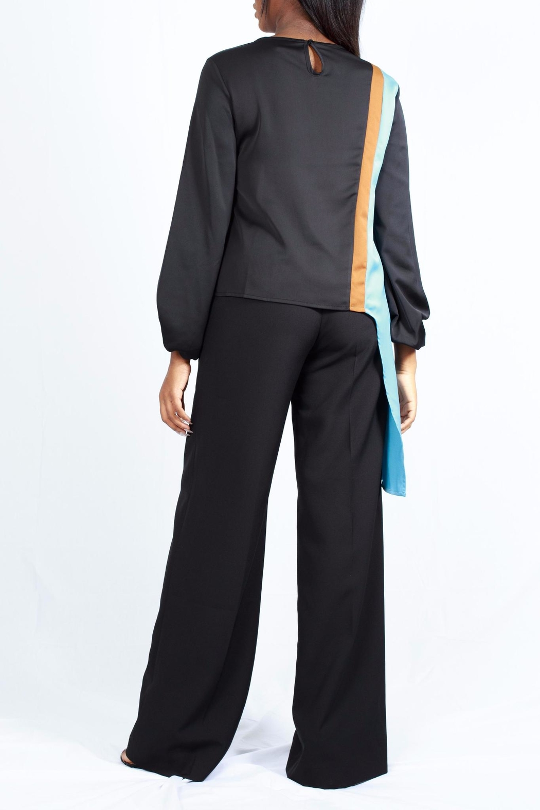 MODChic Couture Colorblock Striped Blouse - Side Cropped Image