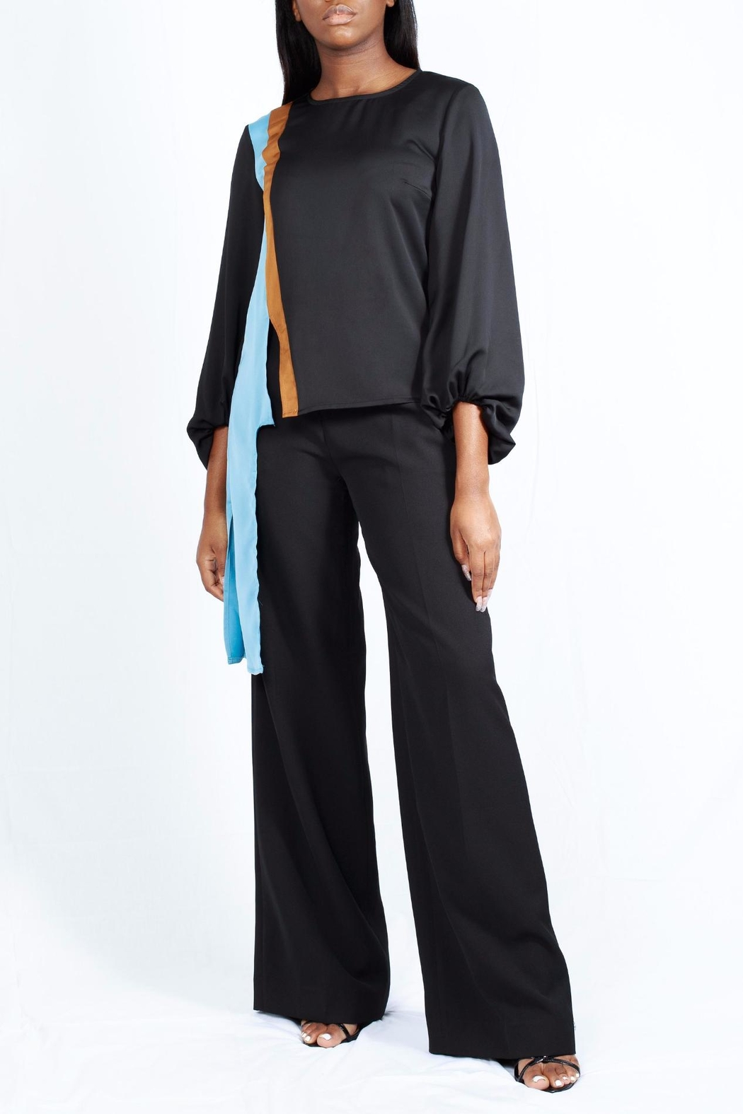MODChic Couture Colorblock Striped Blouse - Main Image