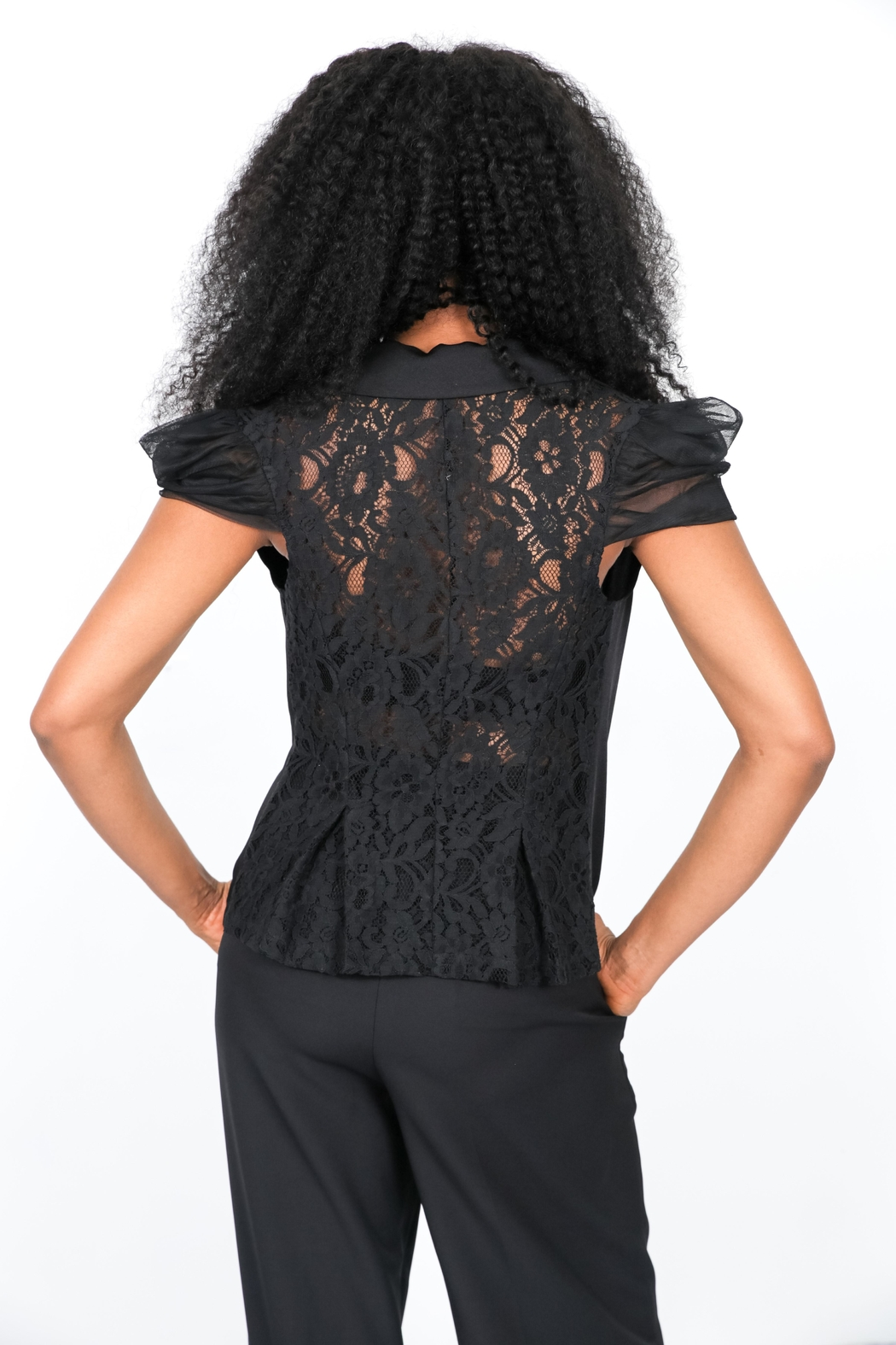 MODChic Couture Lace Waist Blazer - Front Full Image