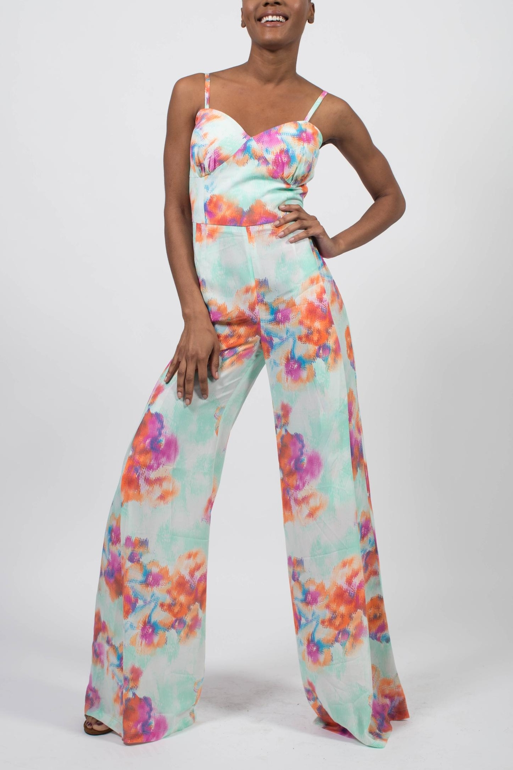 MODChic Couture Abstract Floral Jumpsuit - Front Cropped Image