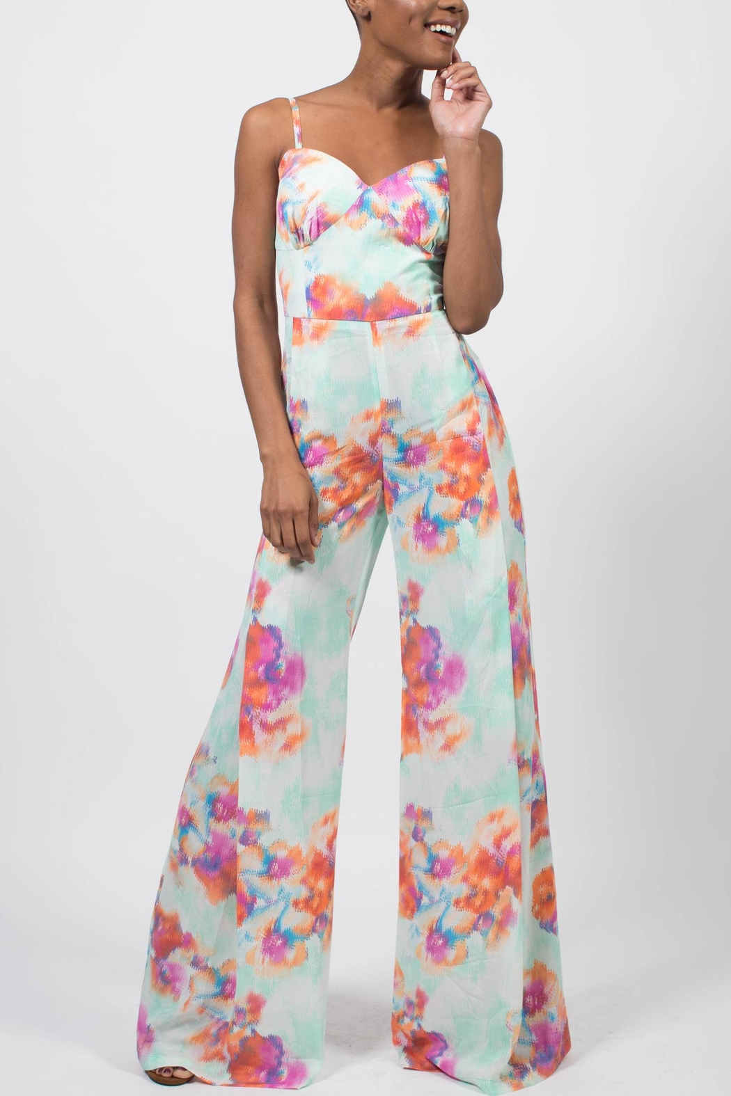 MODChic Couture Abstract Floral Jumpsuit - Main Image