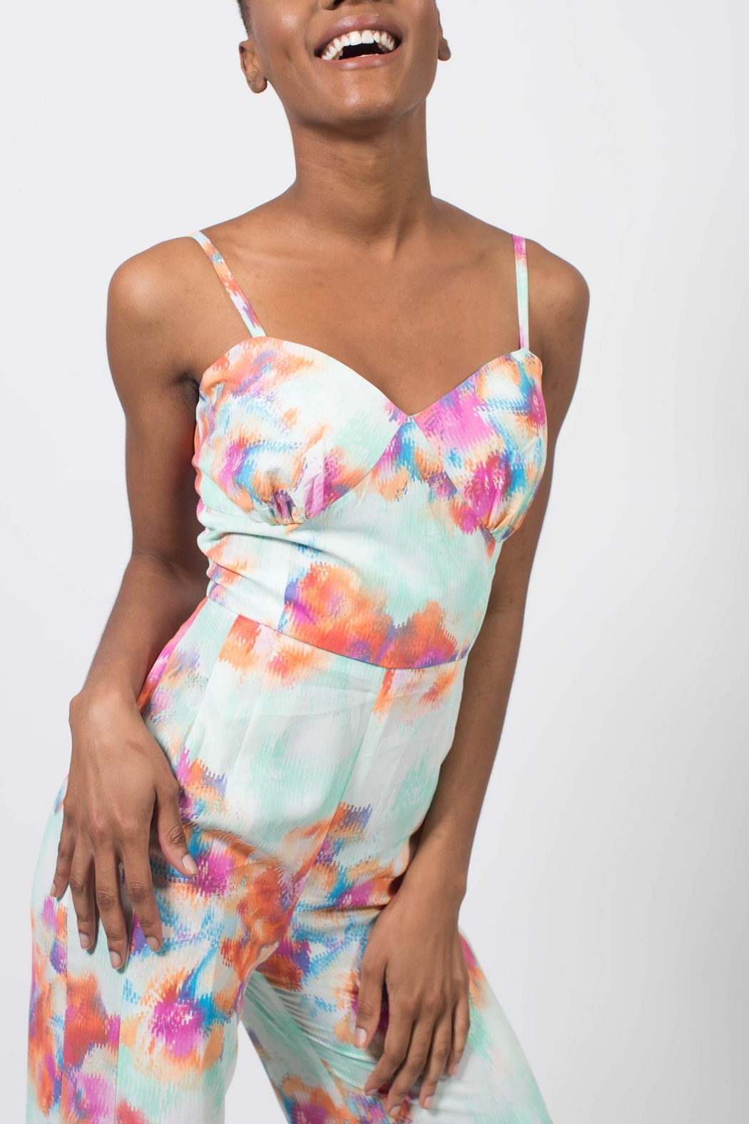 MODChic Couture Abstract Floral Jumpsuit - Side Cropped Image