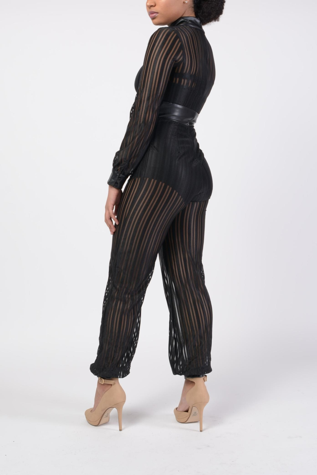 MODChic Couture Mesh Striped Jumpsuit - Front Full Image