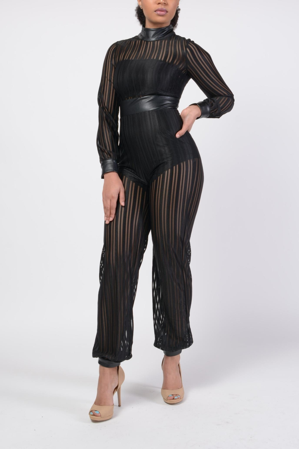 MODChic Couture Mesh Striped Jumpsuit - Main Image