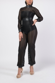 MODChic Couture Mesh Striped Jumpsuit - Product Mini Image