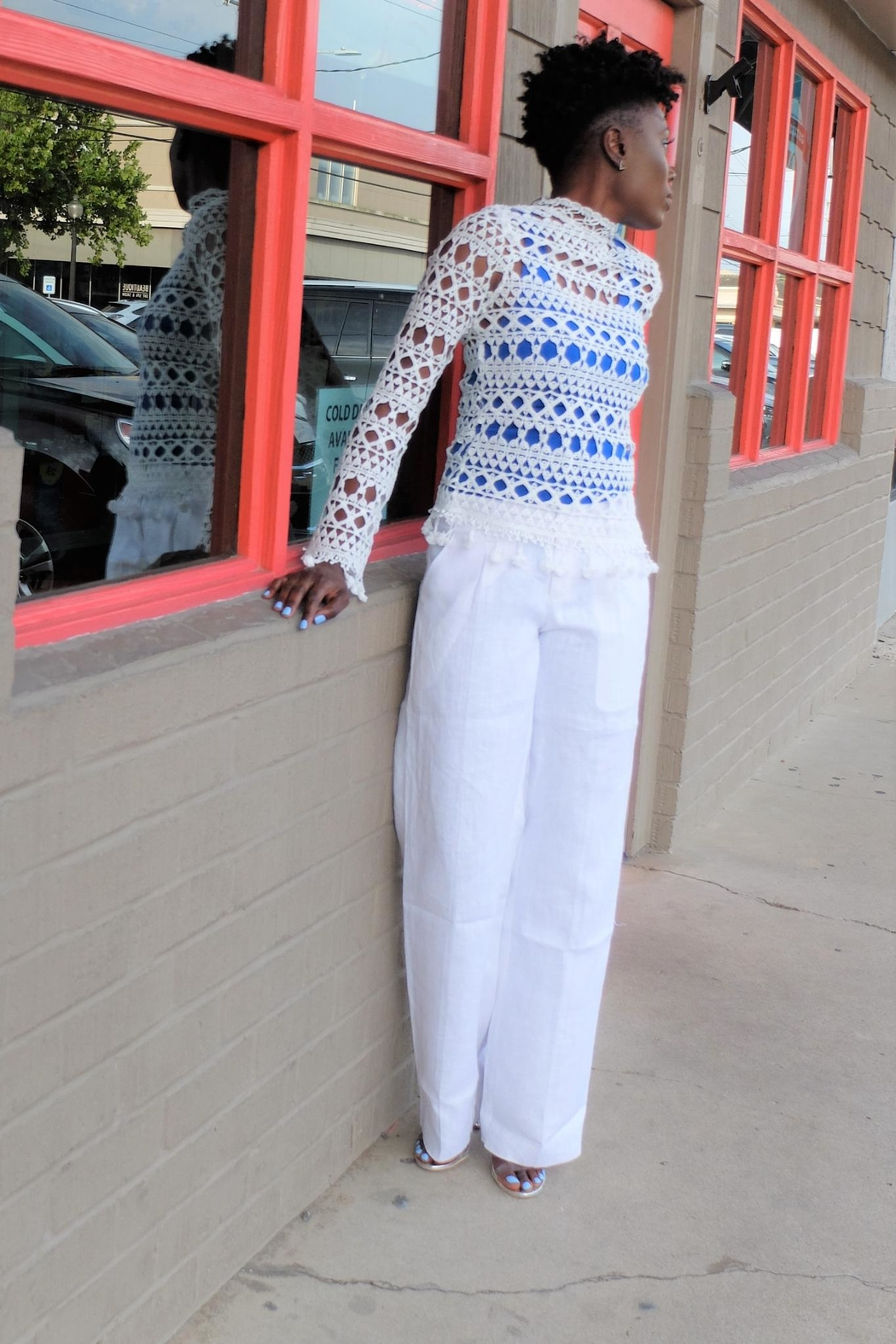 MODChic Couture Parisian Crochet Pullover - Front Cropped Image