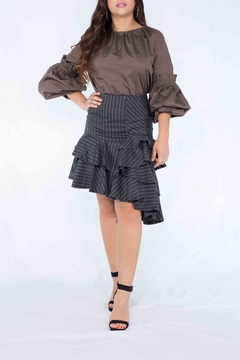Shoptiques Product: Pinstriped Ruffle Skirt