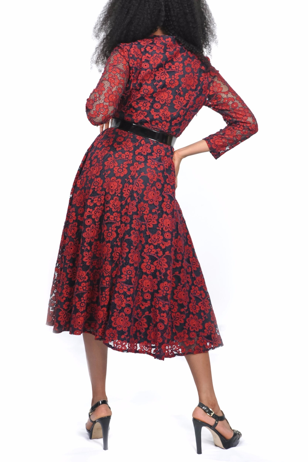 MODChic Couture Red Lace Dress - Front Full Image