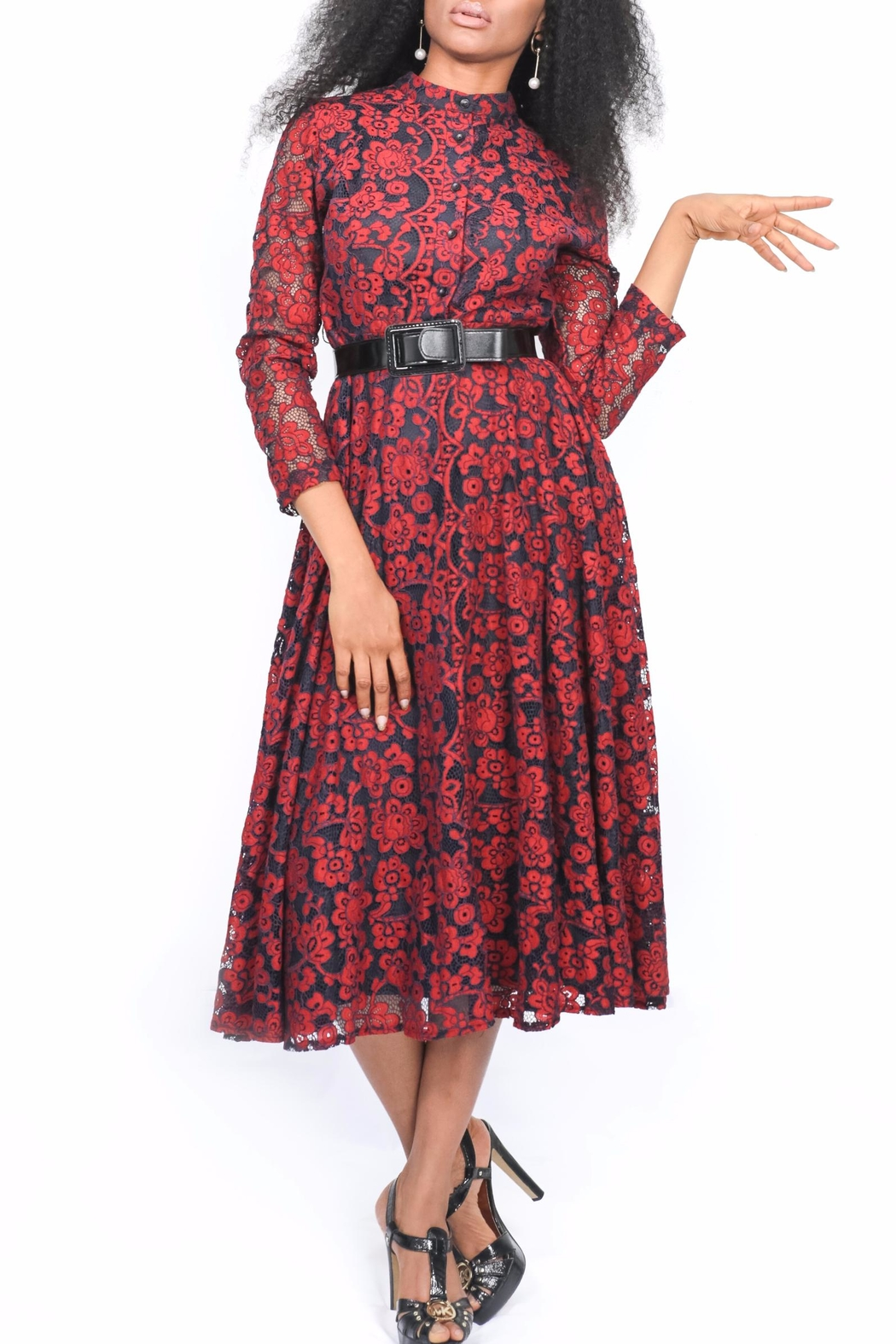 MODChic Couture Red Lace Dress - Main Image