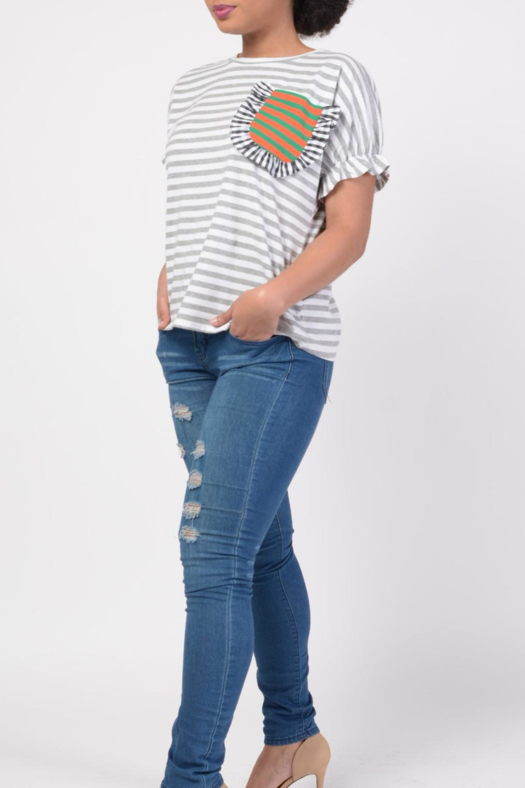 MODChic Couture Striped Basic Tee - Front Full Image