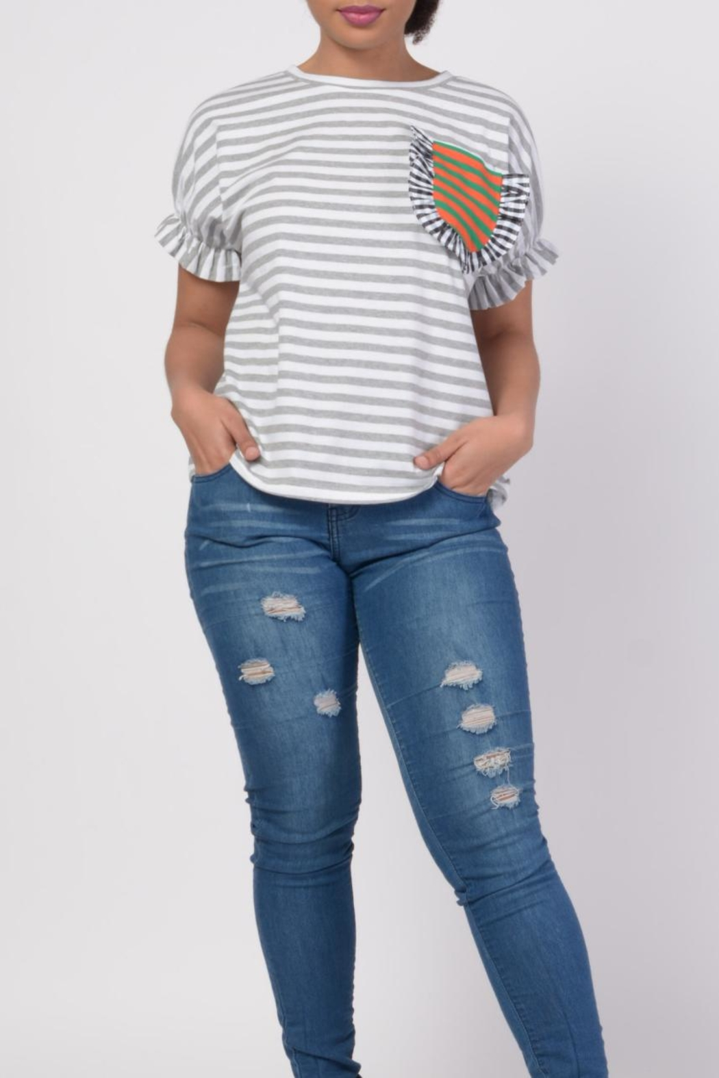 MODChic Couture Striped Basic Tee - Main Image