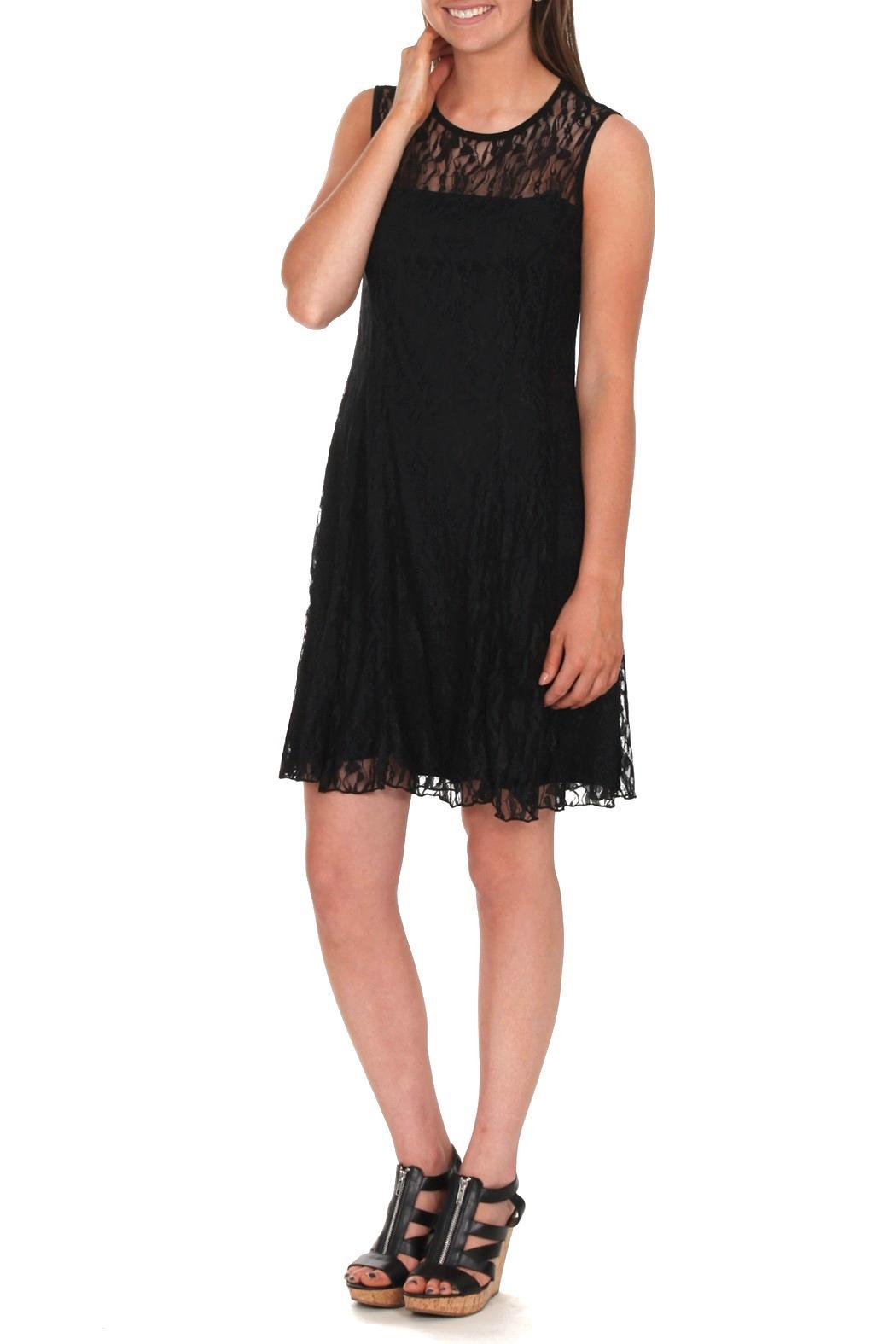 Mode Vin Rouge Black Lace Dress - Front Full Image