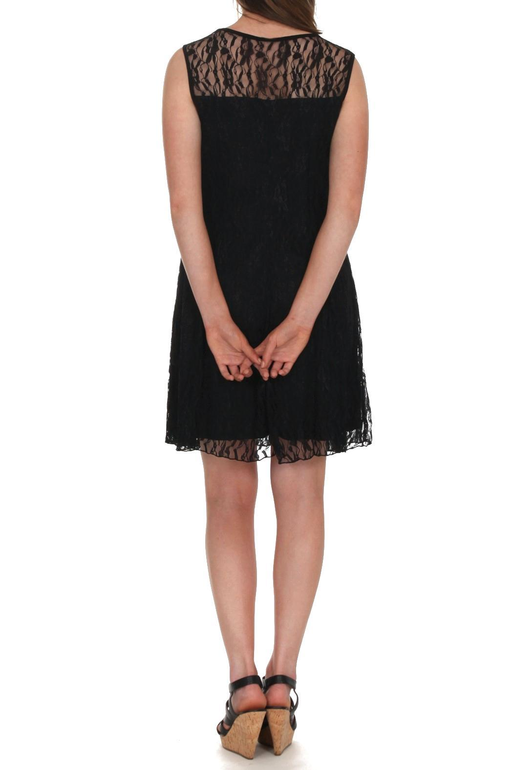 Mode Vin Rouge Black Lace Dress - Side Cropped Image