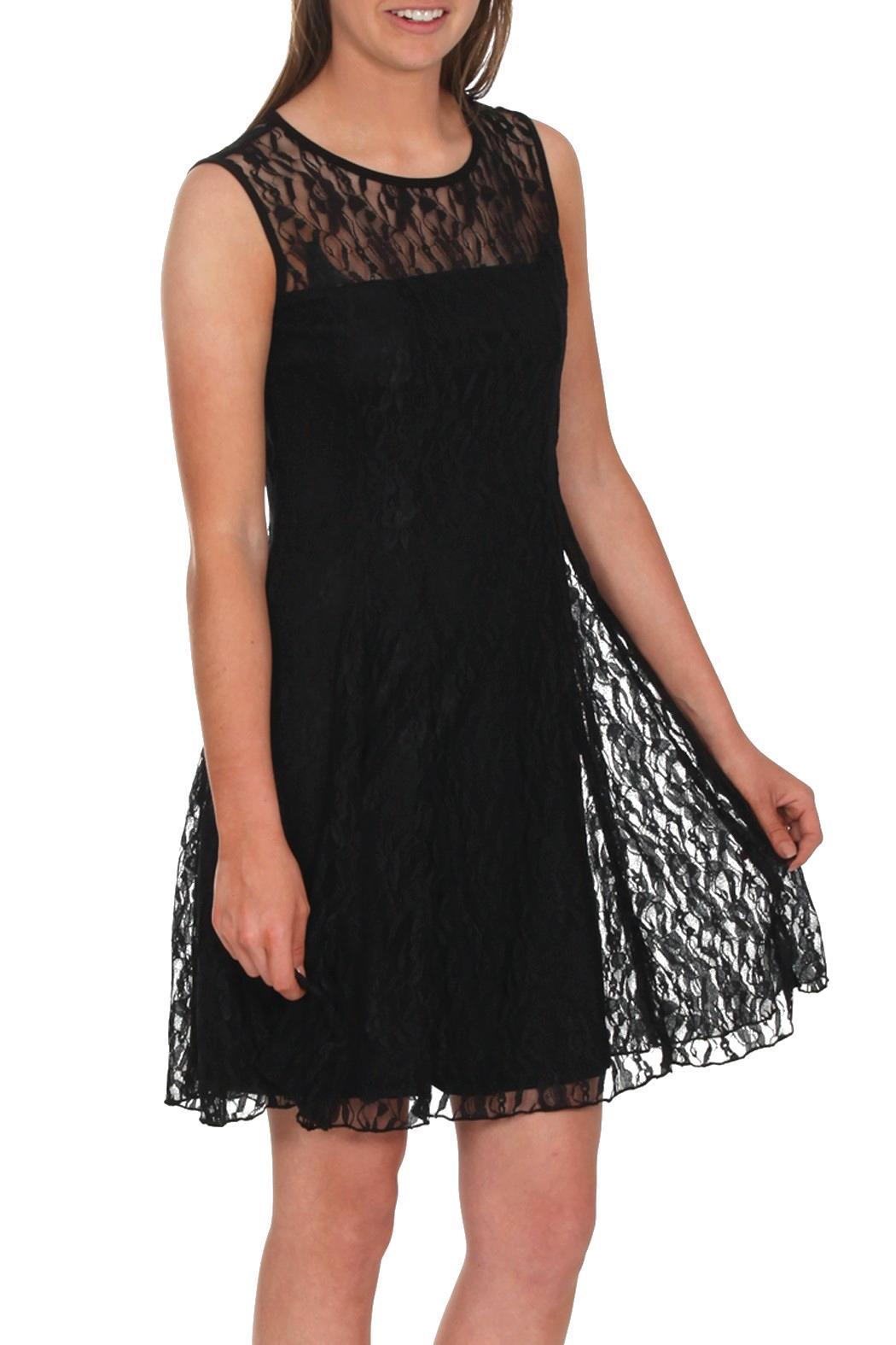 Mode Vin Rouge Black Lace Dress - Front Cropped Image