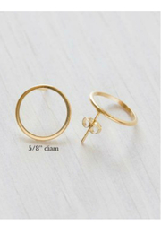 Amano Trading Modern gold circle stud earrings - Product Mini Image