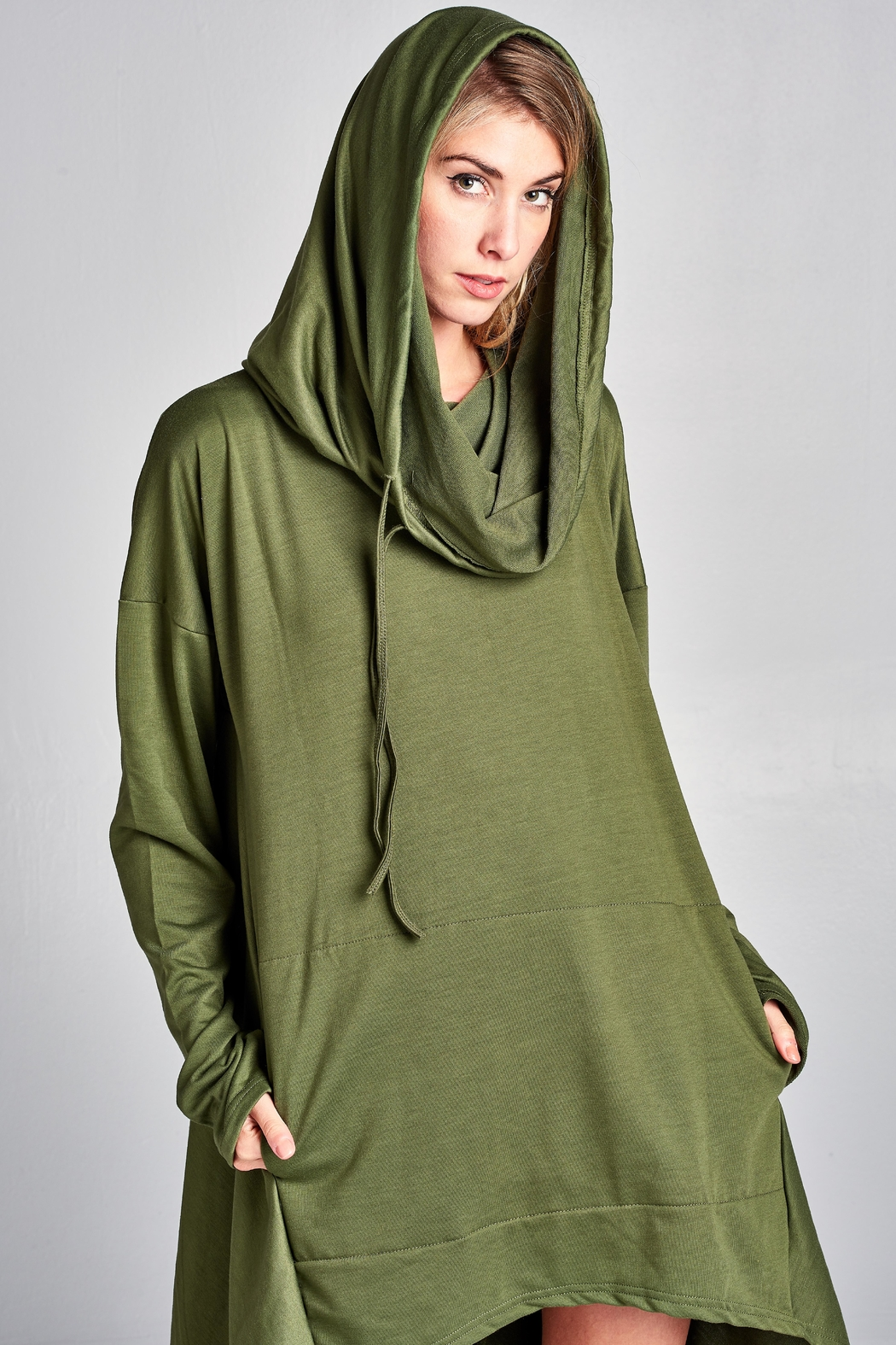 Racine Modern Hooded-Poncho - Front Full Image