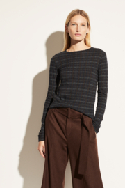 Vince Modern Plaid Crew - Front cropped