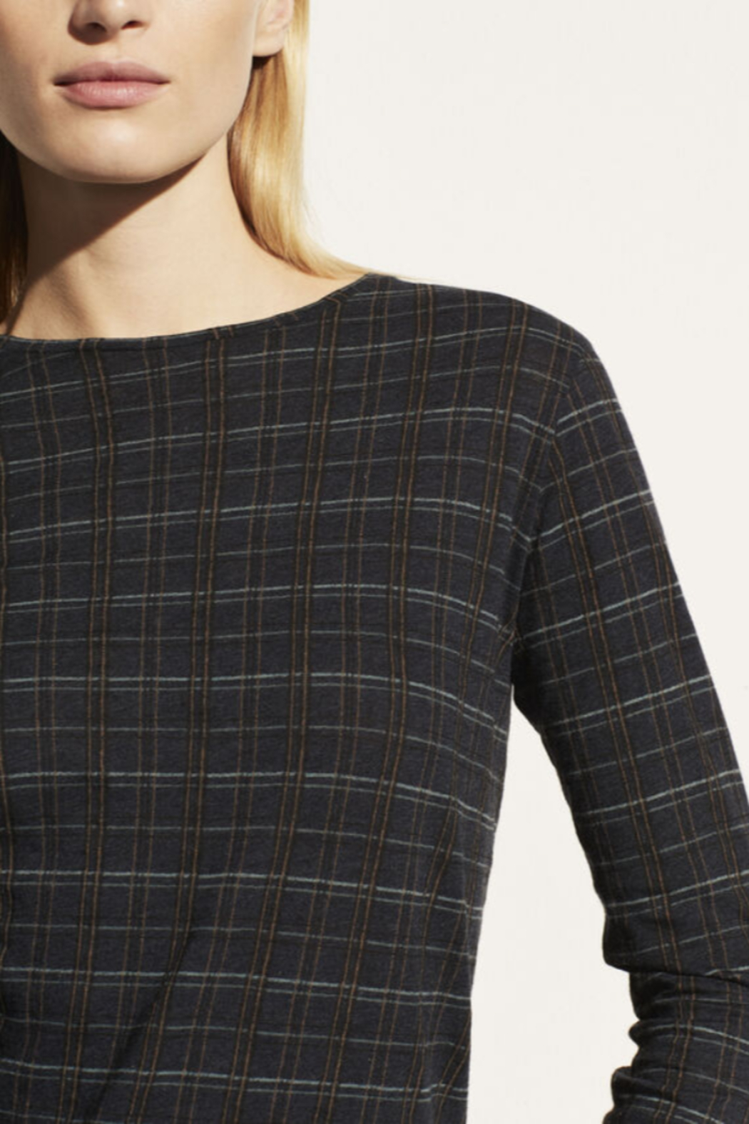 Vince Modern Plaid Crew - Side Cropped Image
