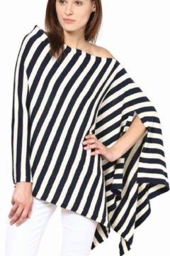 Darzzi Modern Stripe Cotton Knit Poncho - Alternate List Image