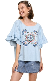 Modern Emporium Denim Embroidered Top - Product Mini Image