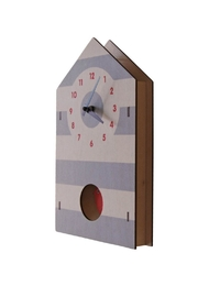 Modern Moose Birdhouse Pendulum Clock - Front full body