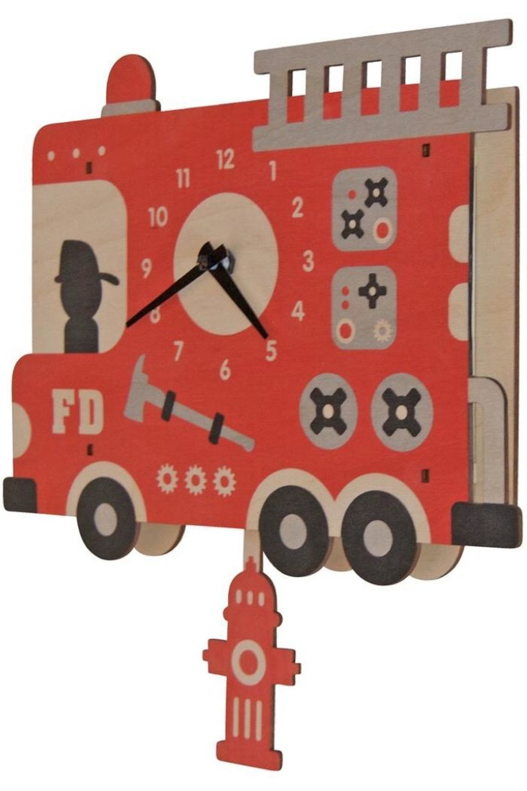 Modern Moose Fire Truck Clock - Main Image