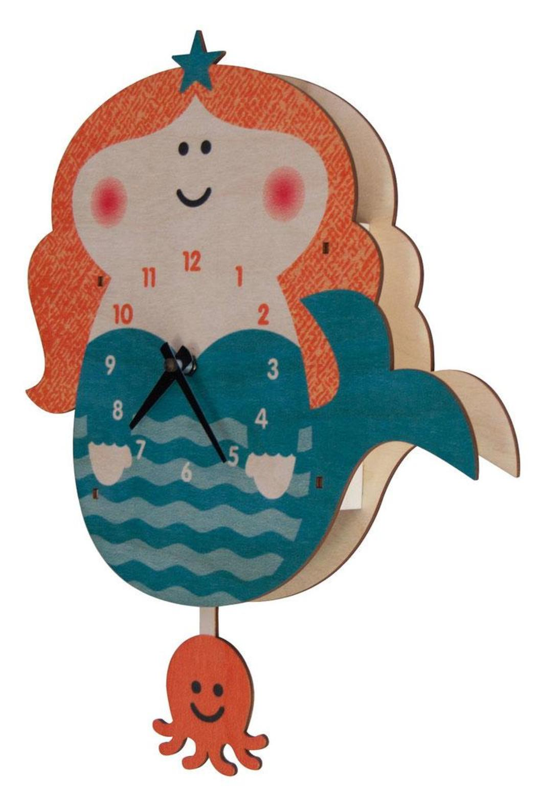 Modern Moose Mermaid Pendulum Clock - Front Full Image