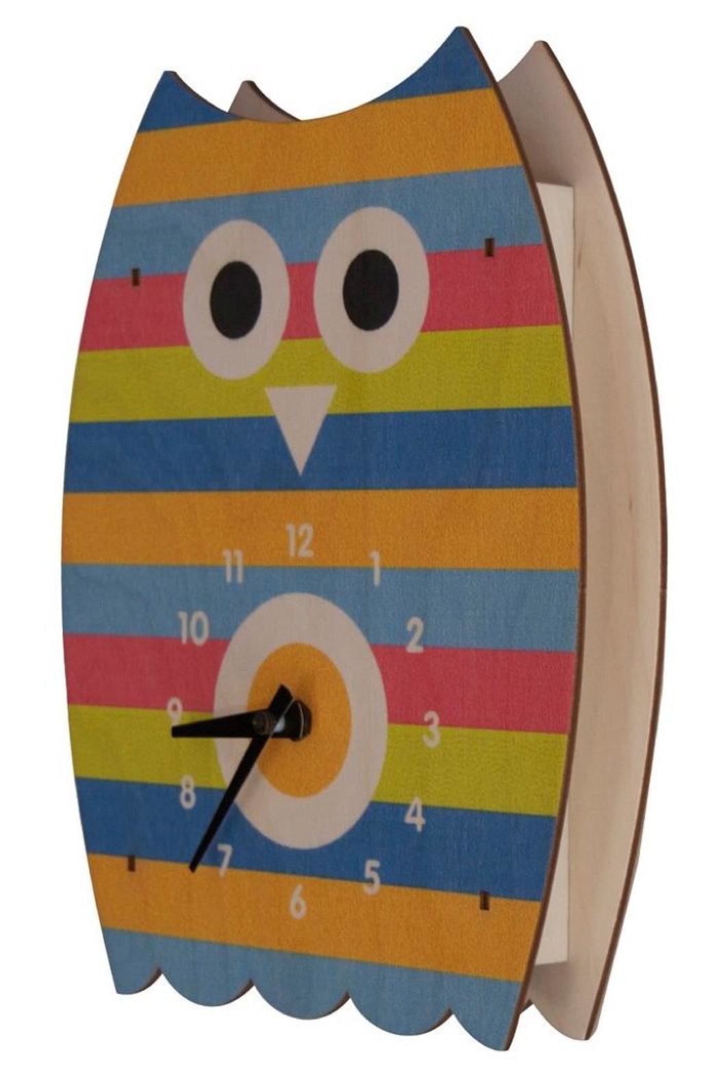 Modern Moose Striped Owl Clock - Front Cropped Image