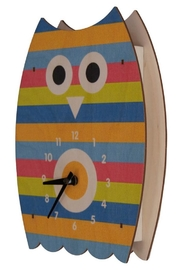 Modern Moose Striped Owl Clock - Front cropped
