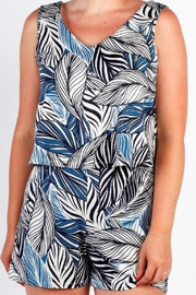 Moffi Blue Print Romper - Front cropped