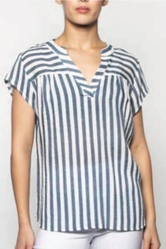 Moffi Denim Blue And White Top - Product List Image