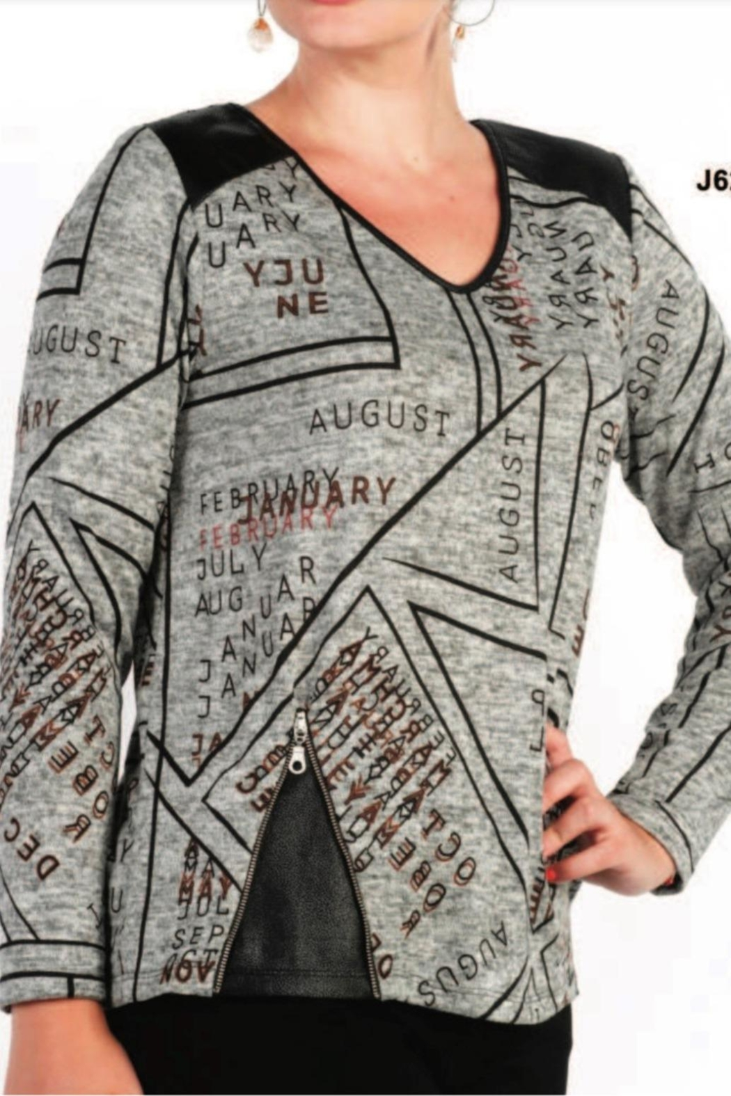 Moffi Graffiti Top With Faux Leather Accents - Main Image