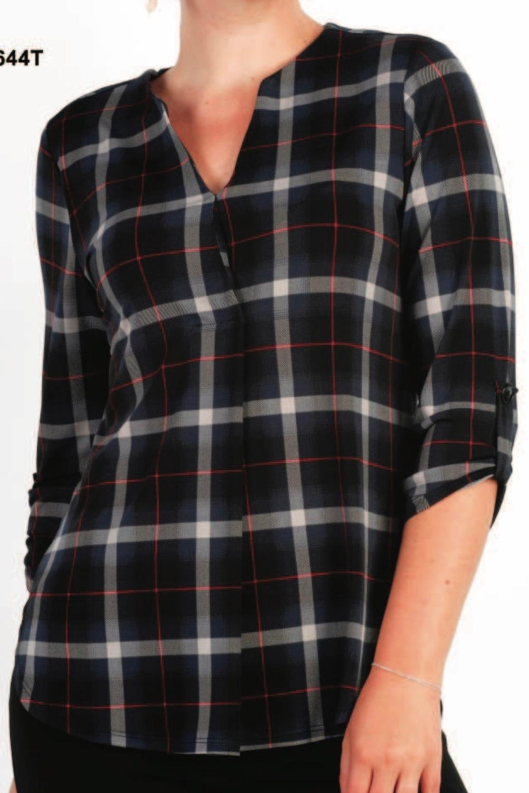 Moffi Soft Plaid Pull Over Top - Main Image