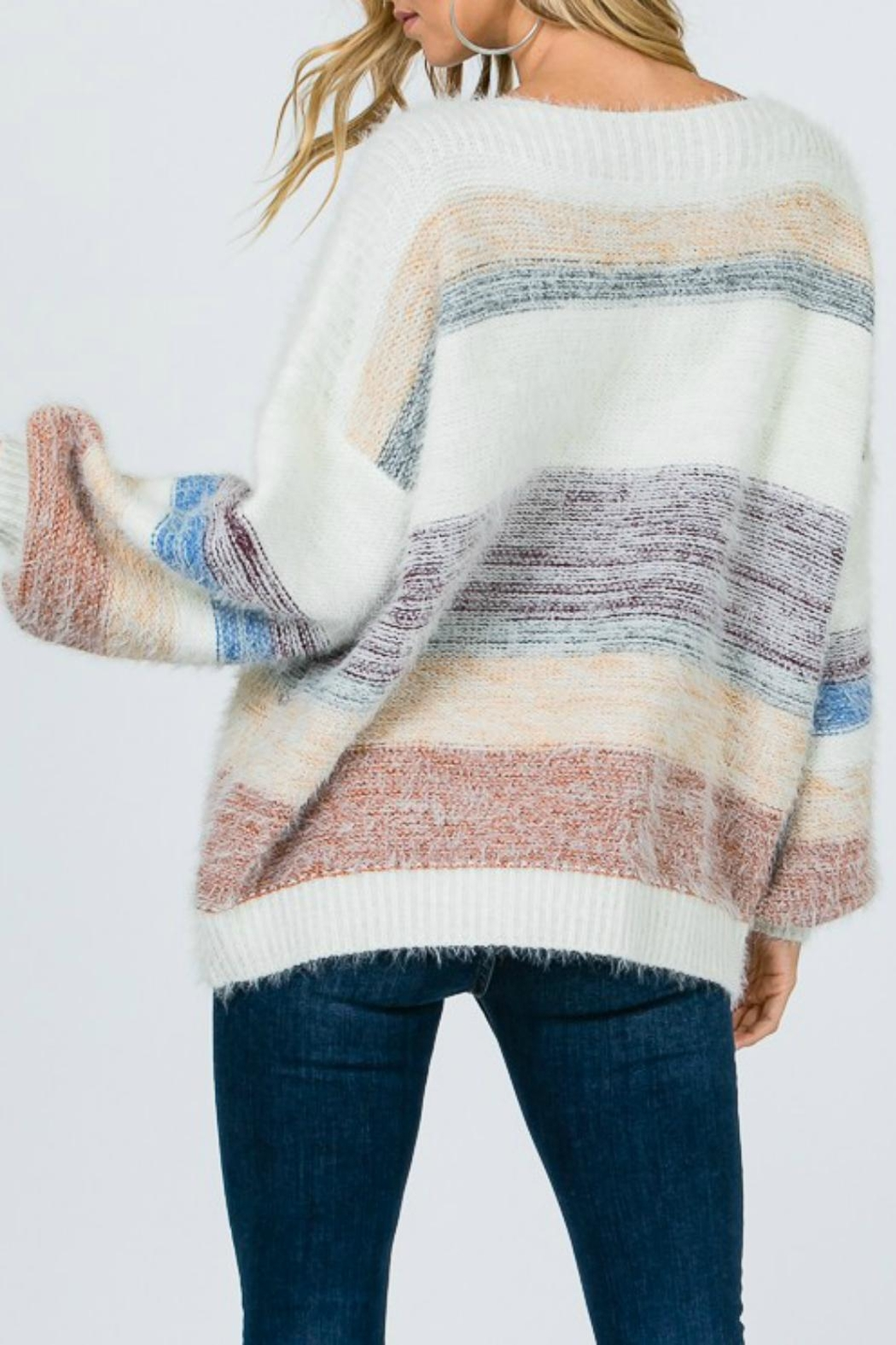 Pretty Little Things Mohair Colorblock Sweater - Front Full Image