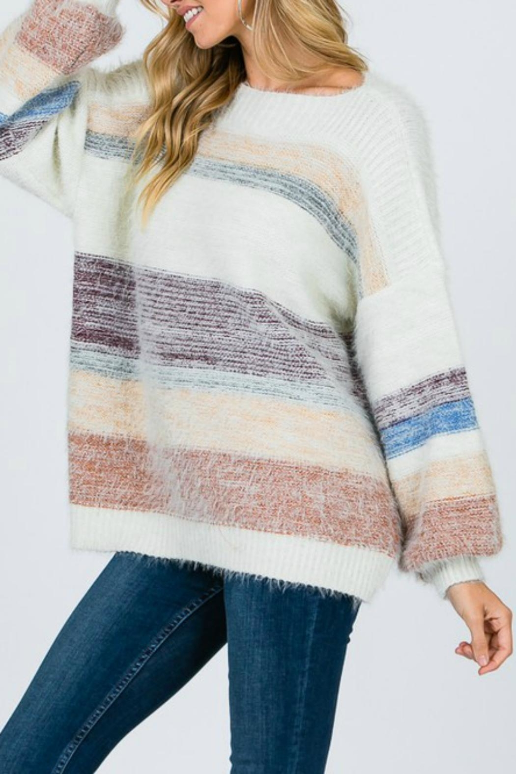 Pretty Little Things Mohair Colorblock Sweater - Main Image