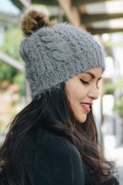 Leto Mohair fur knit pom beanie - Product Mini Image