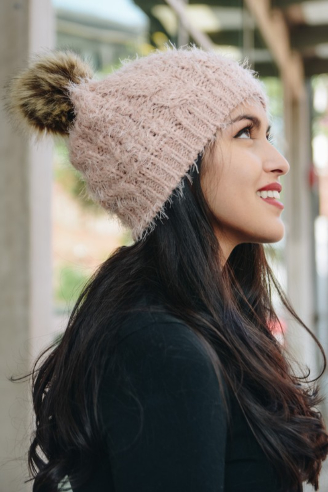 Leto Mohair fur knit pom beanie - Front Cropped Image