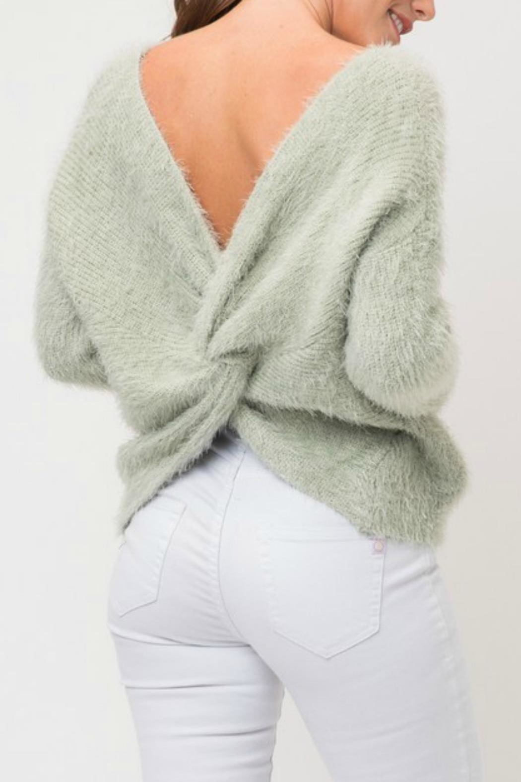 Pretty Little Things Mohair Knotted Sweater - Front Cropped Image