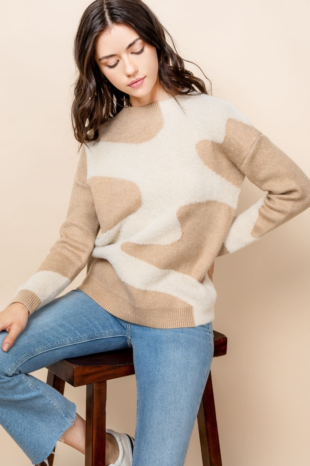 THML Clothing Mohair Patterned Sweater - Front Full Image