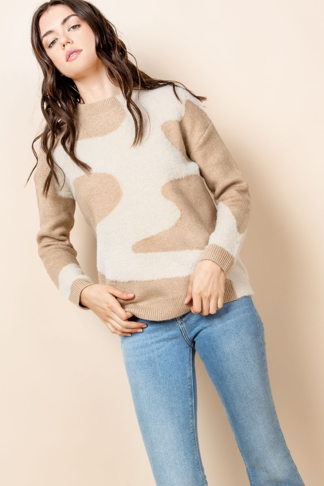 THML Clothing Mohair Patterned Sweater - Back Cropped Image