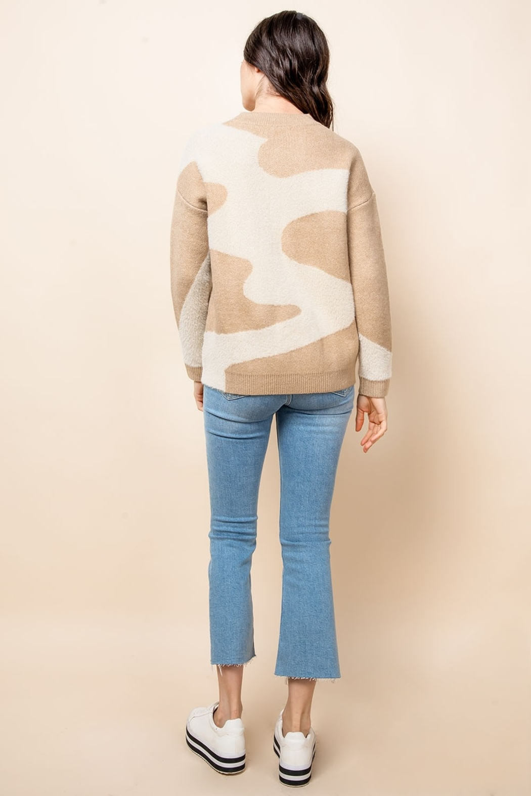 THML Clothing Mohair Patterned Sweater - Side Cropped Image