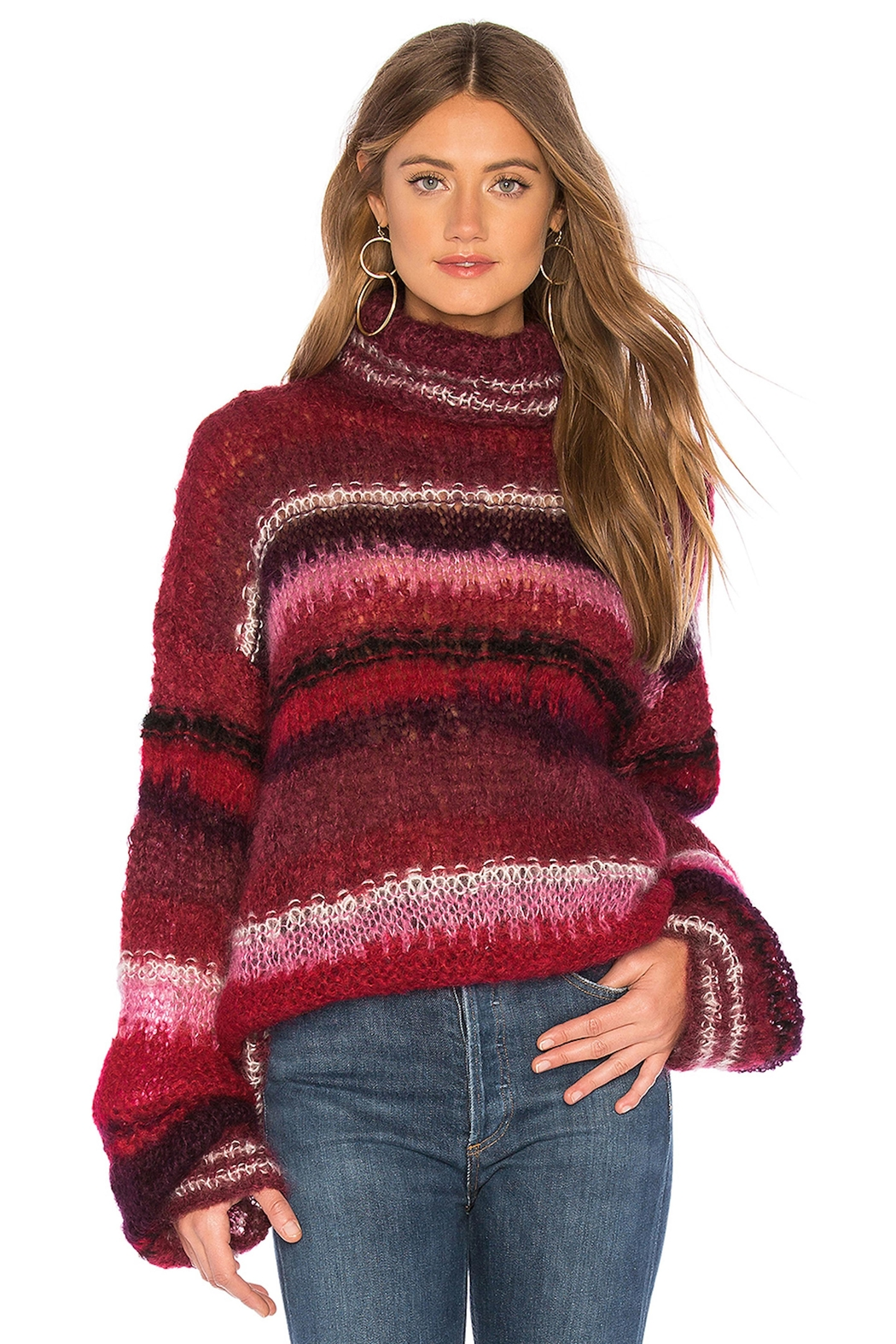 One Clothing Mohair Striped Sweater - Side Cropped Image