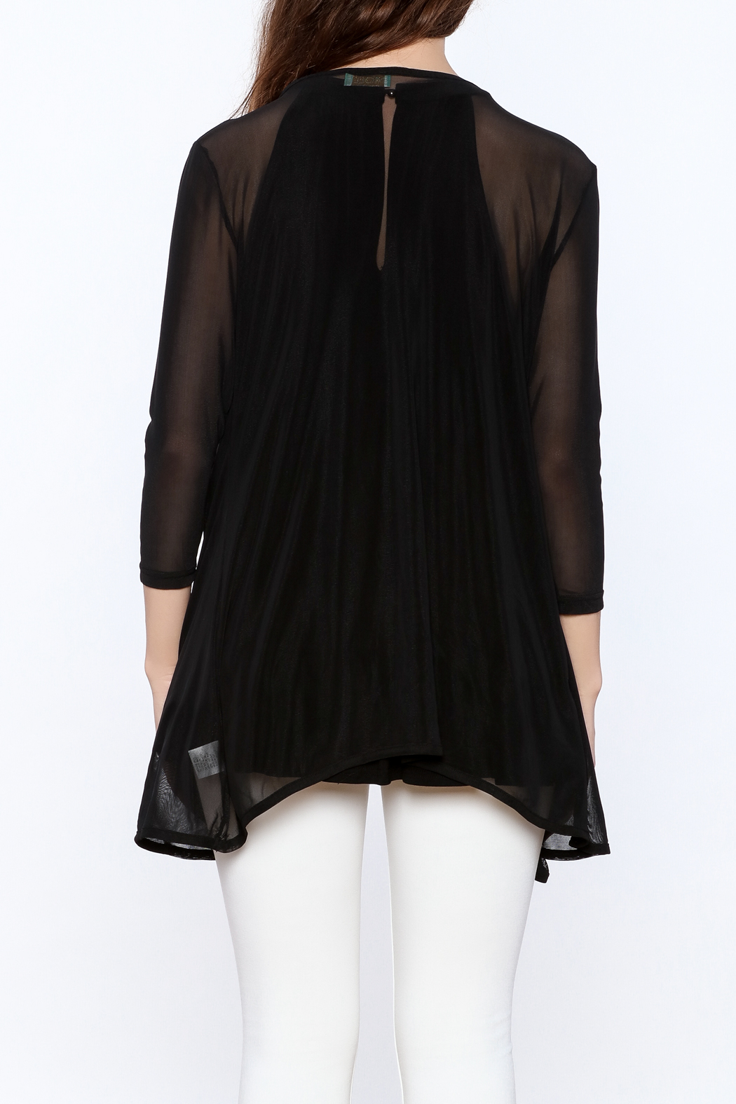 molli Black Mesh Cardigan - Back Cropped Image