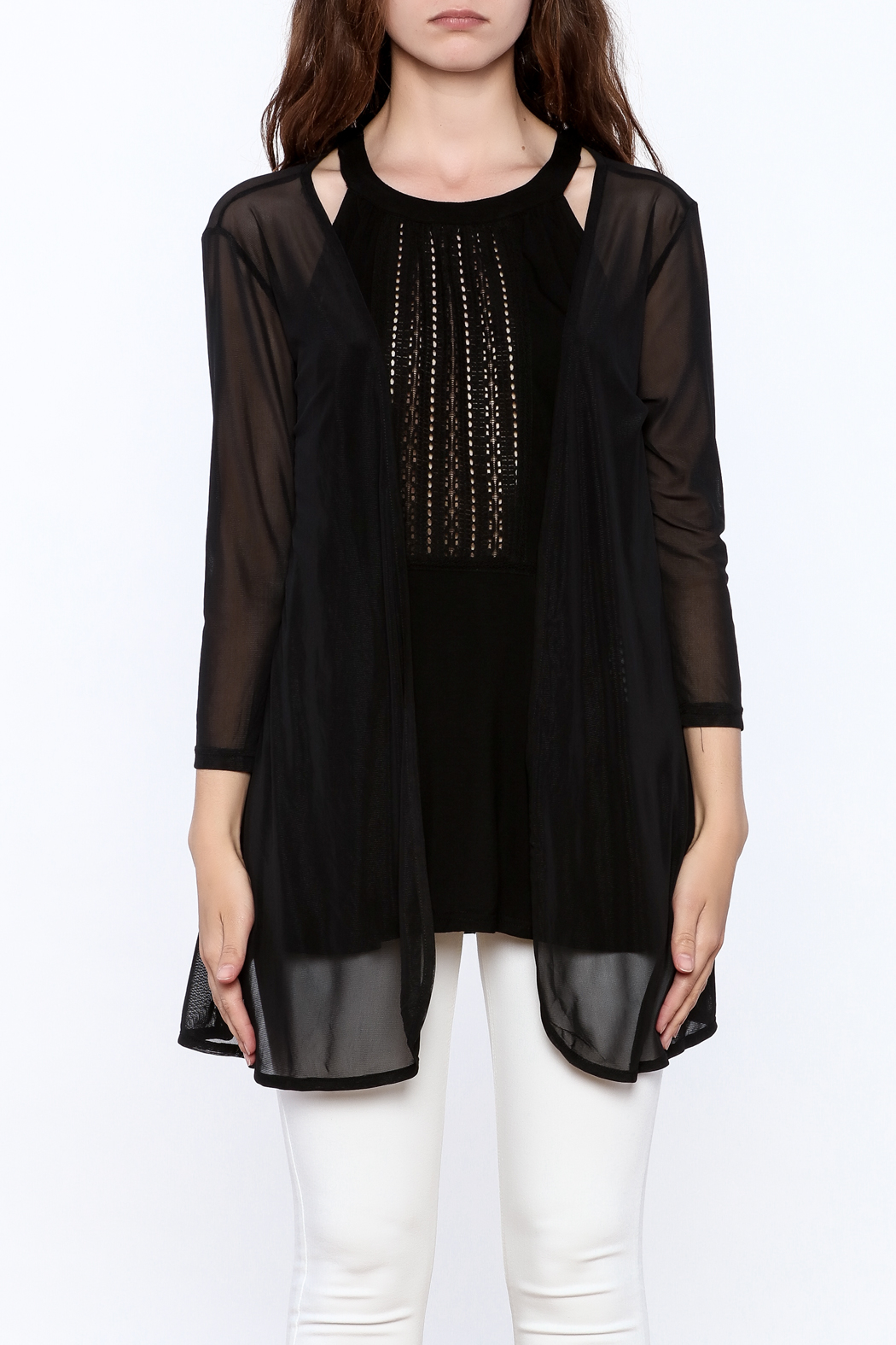 molli Black Mesh Cardigan - Side Cropped Image