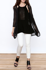 molli Black Mesh Cardigan - Front full body