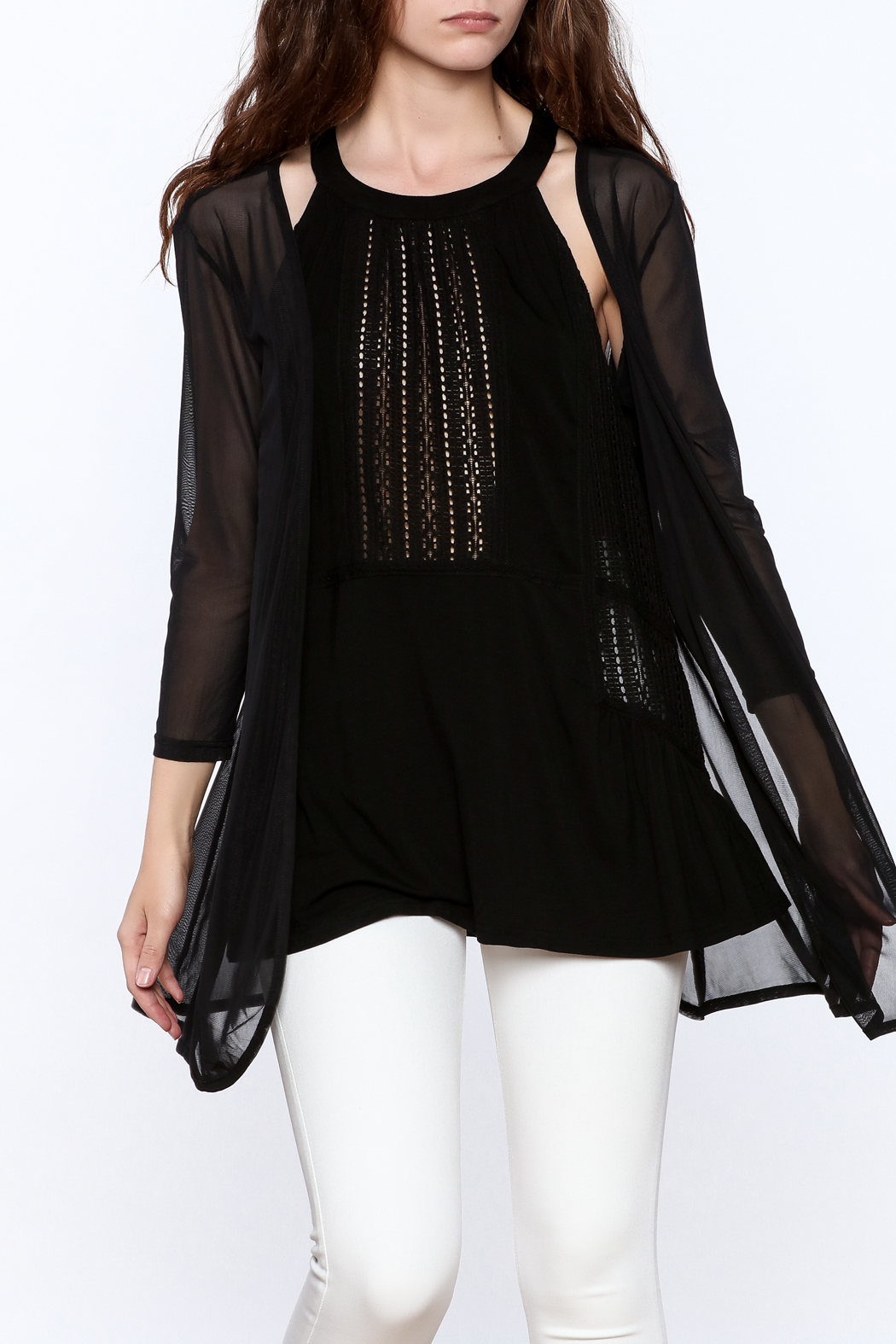 molli Black Mesh Cardigan - Front Cropped Image