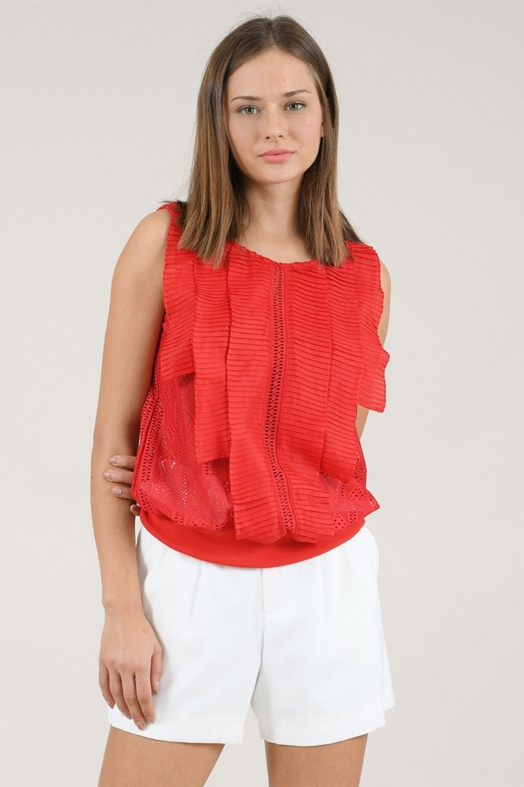 Molly Bracken Knitted Sleeveless Blouse - Front Cropped Image