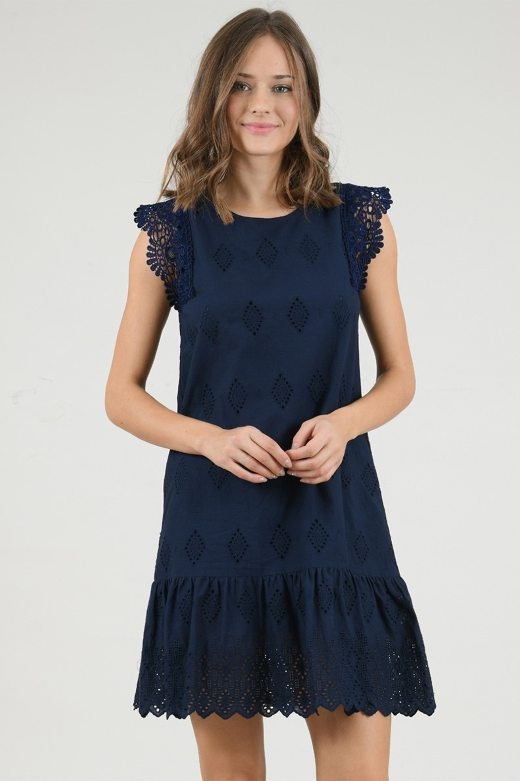 Molly Bracken Lace Ruffled Bottom Shift Dress - Front Cropped Image